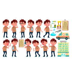 boy kindergarten kid poses set hospital vector image