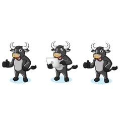 Bull Black Mascot with laptop vector