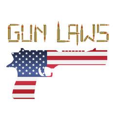 bullet gun laws with america flag hand gun vector image