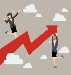 Business woman standing on a growing graph with vector