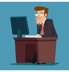 Businessman Character at desk working on computer vector image