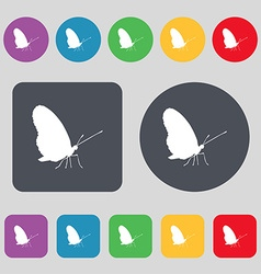 butterfly icon sign A set of 12 colored buttons vector image