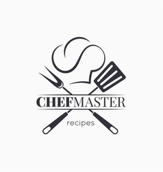 Chef master logo with chef hat on white background vector