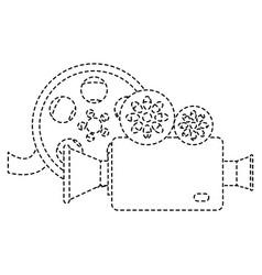 Cinema video camera with reel vector