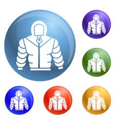 Climb mountain clothes icons set vector