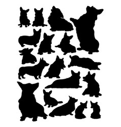 corgi dog animal silhouette vector image