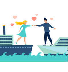 Couple in love on different ships vector