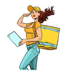 Courier girl food delivery vector