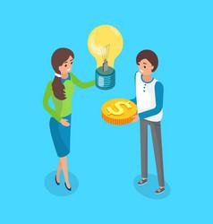 crowdfunding investors crowdsourcing and exchange vector image