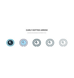 Curly dotted arrow icon in different style two vector