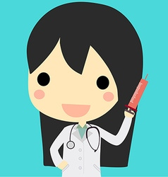 Cute doctor woman with syringe vector