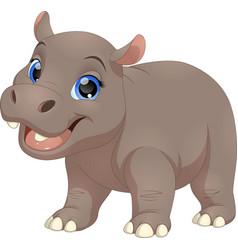 Cute funny hippo vector