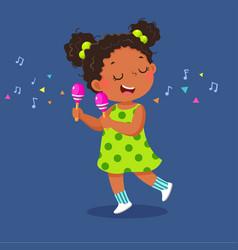 Cute little girl playing maracas vector