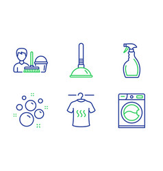 Dry t-shirt plunger and clean bubbles icons set vector