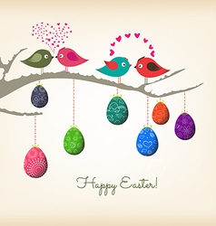 Easter eggs and couple birds vector