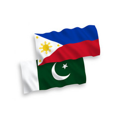 Flags philippines and pakistan on a white vector
