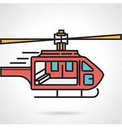 Flat icon for red helicopter vector