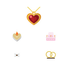 Flat icon love set of letter ring necklace and vector
