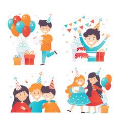 flat set of happy kids celebrating birthday vector image