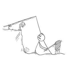 Funny cartoon fisherman with dip net standing vector