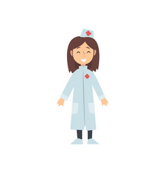 girl doctor character in white coat kid dreaming vector image