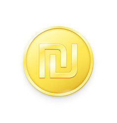 Gold coin with sheqel sign vector