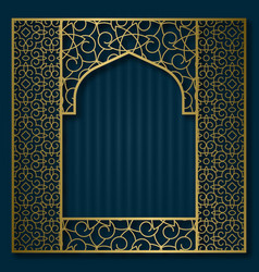 Golden traditional pattern in oriental arched vector