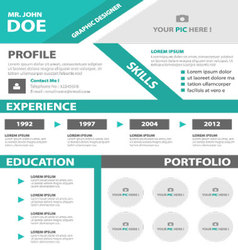 Green Smart creative resume business profile CV vector image