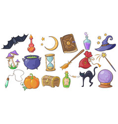 halloween magic and spell signs set wizard hat vector image