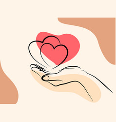 Hand holding heart sign line art drawing style vector