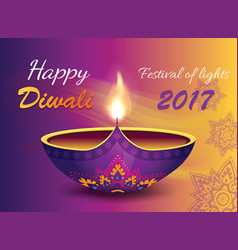Happy diwali 2017 banner on vector