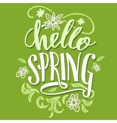 Hello spring Brush calligraphy card vector