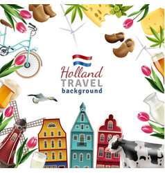 Holland travel frame background poster vector