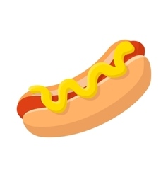 Hotdog with mustard cartoon icon vector