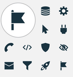 interface icons set with database goal call and vector image