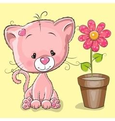 Kitten with flower vector