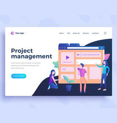 landing page template project management concept vector image