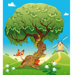 Landscape with fox behind the tree vector