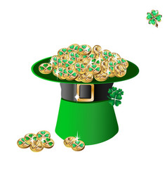 leprechaun hat and gold vector image