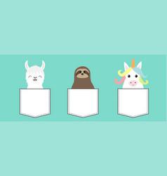 llama alpaca sloth unicorn in pocket animal vector image