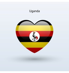 Love Uganda symbol Heart flag icon vector