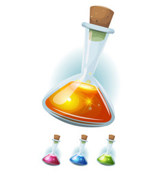 Magic potion flask with elixir for game ui vector