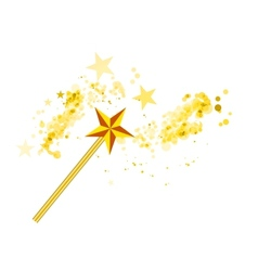 Magic wand with stars on white vector