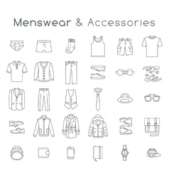 Men fashion clothes accessories flat line icons vector