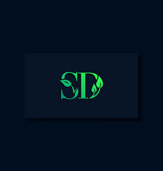 Minimal leaf style initial sd logo vector