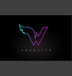neon w letter logo icon design with creative wing vector image