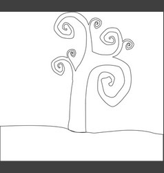 Outline silhouette of tree with curly branches vector