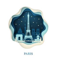 paper art of paris origami concept night city vector image