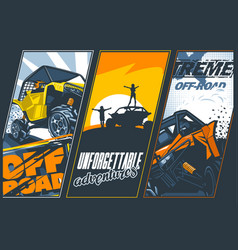 Poster three banners with utvs off-road vector