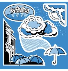 Rain in the city vector image